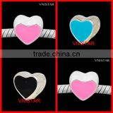 Vnistar Silver plated enamel bead hot pink&cyan&black heart-shaped bead size in 9*10mm PBD556