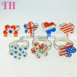 good quality 7pc per set resin flag shape kids finger plastic ring
