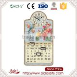 Fancy pink flowers and bokeh bird mdf quartz wall clock with date