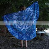 Indian Handmade Blue Star Mandala Beach Throw Cotton Tapestry Wall Hanging Decorative Table Cover