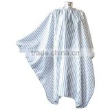 Factory price 100% polyester material striped style customized barber cape for salon