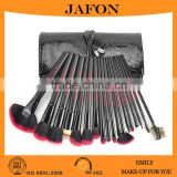 Makeup brush set 18 piece with black+red synthetic hairs and crocodile PU leather rolling bag