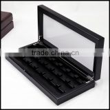 Black clamshell wooden craft jewelry gift sales display packaging bo wholesale manufacturers supply storage