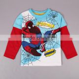 2-6Y (T2116#Blue&Green)Baby wear kids long sleeve t shirts with spiderman print