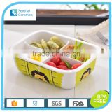 Ceramic food container,4 Compartments lunch food storage container,rectangle ceramic bento box