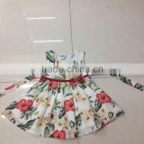 New Arrival Girl Floral Dress Cute Baby Dress With Belt Cotton Sleeveless Holiday Girl Dress