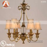 6 Light Antique Solid Brass Chandeliers in Bronze Color with White Fabric Shade