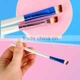 Fashion Womens Oblique Angled Eyebrow Brush White Handle Eye Liner Brow Tool