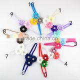 Wholesale handmade Top Baby satin fabric Flower Headband, NEW satin ribbon flower Baby Hair bands, plastic crystal star flower