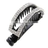 China Factory Price Hot Selling Adult Solid Rhinestone Black Arch-shape Clip Hair Claw Headwear Accessory For Women