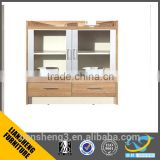 Walnt veneer MDF melamine panel low height office tea cabinet two glass door cabinet furniture