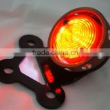 custom motorcycle led brass tail light-covers over tail Rodda / red lens - Bike RetroTail Light