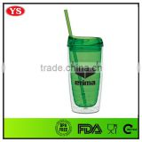 eco-friendly double wall 16oz clear acrylic tumbler with straw