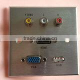 WALL PLATE VGA Female & audio & video & USB & HDMI Female Face plate and wall socket