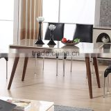2015 latest modern wooden dining table with glass top designs/ round dining table with rotating centre/