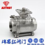 3PC SS Float Ball Valve with Direct Mounting Pad & Wenzhou CF8M 1000WOG Thread Valve
