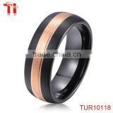 Tungsten carbide ring 2016 domed surface rose gold and black two-tone plated tungsten ring blank 2~12mm customized width