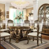 French Royal Style Solid Wood Round Dining Table Set With Upholstery Dining Chairs And Side Board Sets(MOQ=1 SET)