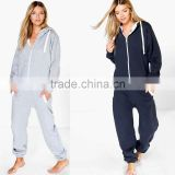 slim fit onesie Jumpsuits Contrast Pocket And Tie Zip Up sports Hooded adult onesie Wholesale