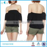 Women T-Shirts, Clothing Women, Black Off the Shoulder Crinkle Knit Top