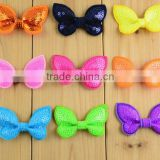 DIY butterfly knots with sequines shiny bow knot hair accessories for children shiny ribbon bow clothing accessories
