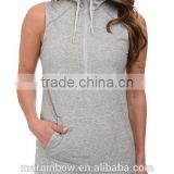 custom high neck ladies sleeveless hoodie half zipper longline gym hoodie grey plain cotton elastane pullover hoodie wholesale