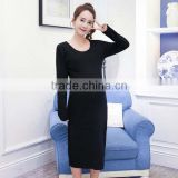 Wholesale Long Sleeve Maternity Wrap Dress Black Extra Long T-shirt for Pregnant Women