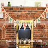 Burlap Hessian Vintage Christmas Bunting Banner, Shabby Chic Bunting Banner & Red Snowflakes