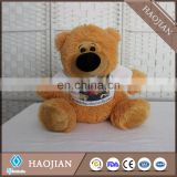 "sublimation 13"" cute plush teddy bear with polyester printable T-shirt mini plush toy"