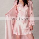 luxury two piece 100% silk pajamas sleepwear women with lace