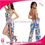 floral printed jumpsuit beach wear women sexy and jumpsuits 2016