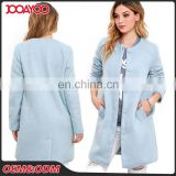 Wholesale Fashion Collarless Long Sleeve Light Blue Long Coats Ladies Winter Wool Woman's Coat
