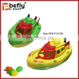 Plastic boat pull line candy toy with light