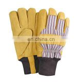 Cow Split Leather Mechanic Work Gloves/Pig Grain Leather Safety Gloves Driver Flexible Fabric Cuff Work Gloves