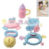 5 Different Plastic Baby Waggles Ring / Handbell Rattle Toy