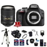 Cheap Nikon D3300 DSLR Camera Body 3 Lens Kit Wide Angle 32GB