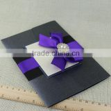Wholesale Brooch Embellished Vertical Pocketfold Wedding Invitation Cards