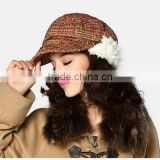 2014 plaid french style earflap beret hat for women