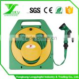 Smiling face retractable hose reel cart 50 feet flat hose with spray nozzle