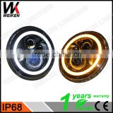 wholesale ip68 7 inch round halo ring headlight for jeep wrangler led angle and demon eyes                                                                                                         Supplier's Choice
