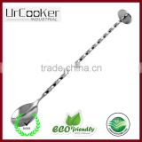 Bar Bartender Cocktail Shaker Cocktail Mixing Spoon, 12 Inches Spiral Pattern Stainless Steel