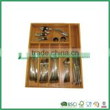 Renewable bamboo flatware tray 6 sections
