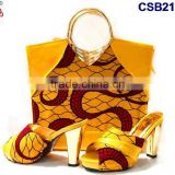 CSB2100 new coming hot sale fantastic adorable design yellow red set high heel casual slippers shoes matching bag set
