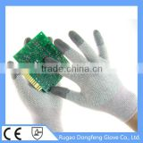 Cleanroom Antistatic Hand Gloves / 13G Sleamless Knitted Nylon Carbon Fiber ESD PVC Dotted Electronics Industry Work Gloves