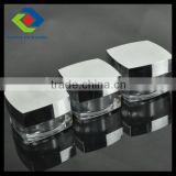 30gm shiny silvery square plastic mason cream jar with lid and straw wholesale double wall acrylic jar