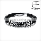 Fathers Day Gift Black Braided Leather Biker Mens Bracelet with Stainless Steel Clasp, Cuff Bangle for Men