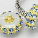 Alloy Rhinestone Beads, Enamel, Golden Metal Color, Rondelle, LightBlue, about 14x6.5mm, hole: 5mm(ALRI-B001-9)