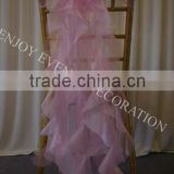 YHC#139 fancy organza curly chair sash polyester banquet wedding wholesale cheap chiavari cover