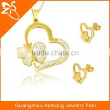 Heart Shaped With Crystal And Butterfly Stainless Steel Necklace And Earring Jewelry Box Sets