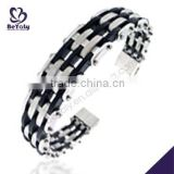 China Manufacturer 2015 latest stainless steel mens wood bracelet